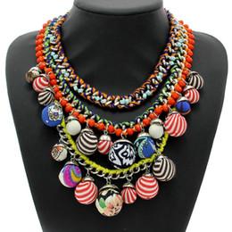 Wholesale Multi Chain Bib Necklace - ashion Jewelry Necklace Fashion Multicolor Balls Pendant Choker Bib Statement Necklaces Luxury Brand Multi layer Chain Design Jewelry Wom...