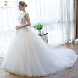 Wholesale Short Wedding Dress Long Tail - 2017 New SSYFashion Wedding Dress V-neck White Lace Flower Slim A-line Long Tail Sexy Bridal Wedding Gowns Vestido De Novia Custom Plus Size