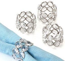Wholesale Crystal Napkin Rings Wholesale - Bling metal crystal beaded bling bling napkin rings Serviette Holder silver or gold for wedding table decoration LLFA