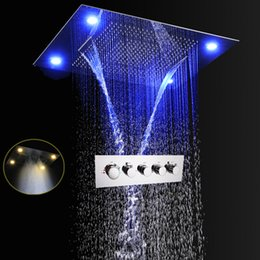 waterfall showers head led prices - Luxury Thermostatic Shower Electric LED Multi Function Concealed Shower Head Set Big Rain Waterfall Spa Modern Faucets