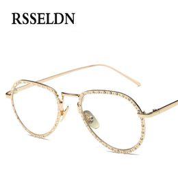 ebe097fb6 Wholesale- RSSELDN Brand Rhinestone Eyeglass Frames Women Fashion Vintage  Glasses With Clear Lenses Gold Silver Metal Glasses Female oculos rhinestone  ...