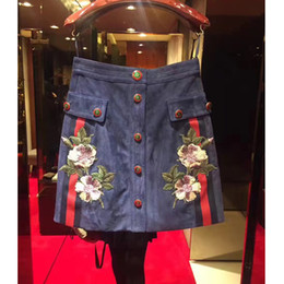 Wholesale American Fine Arts - fashion Europe and American retro heavy fine art embroidery flower buttons short section denim skirt