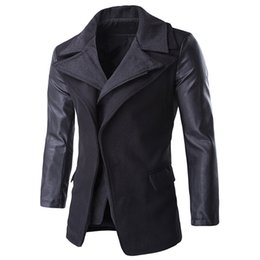 Wholesale Wool Coat Style For Man - Wholesale- Brand Men's 2 Pieces Wool Winter Jacket and Coat Slim Fit European and American Style Mens Trench Coats Streetwear For Sale C1