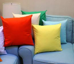 Wholesale Wholesale Solid Color Pillows - 18x18 inches candy color pillow case multi-solid color 100% cotton pillow cover plain color cushion cover