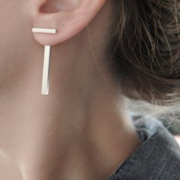 Wholesale Free T Bars - European and American jewelry extreme simplicity of the T-shaped metal bar earrings gift free shipping