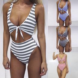 Wholesale Black Fashion Bikini - 4 Colors Women Bikini Swimsuit Swimwear 2017 Summer New Fashion Sexy Deep V Nexk Bandage Hollow Vest Swimsuits Jumpsuits