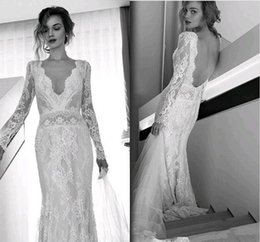 Wholesale Open Back Beach Bridal Dress - Lihi Hod Bohemian Beach Wedding Dresses Full Lace Long Sleeves Sexy V Neck Sweep Train Bridal Gowns Custom Made Open Back 2017 Hot Sale