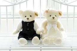 Wholesale Couples Wedding Dress - Sitting Wedding Dressed Tedday Bear Couple Doll Teddy Bear Pair Toy Price Yangzhou Toy Wedding Present 2 Pieces HANCHENTE