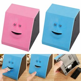 Wholesale Funny Money Banks - Funny Toys Face Money Eating Box Cute Face bank Piggy Bank for Coins Box Money Coin Saving Bank for Children Birthday Toys Gifts