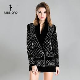 Wholesale Rhinestone Studded Dresses - Wholesale- Missord 2017 Sexy V-neck long-sleeved geometric studded velvet blazer dress FT3612 Rhinestone