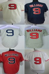 Wholesale Free Cool Logos - Cheap American Mens Womens Kids Toddlers Boston 9 Ted Williams Throwback Embroidery logo Flex Base Cool Base Baseball Jersey Free Shipping