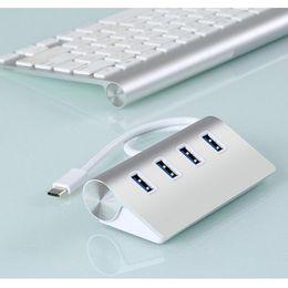 Wholesale Hub Pc - Portable Aluminum High Speed 4 Ports USB 3.1 Type-C to USB 3.0 Hub For Macbook & Laptop PC