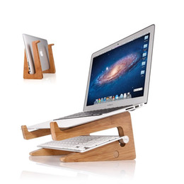 Wholesale Other Storage - Natural Wood Multi-Functional Laptop Vertical Stand Holder Eco-friend C027 Workstation Ergonomic Dismountable Laptop Cooling Support Storage