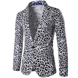 Wholesale Male Leopard Print Blazer - Wholesale- 2017 New Arrival Male Stylish Cool Prom Nightclub Suit Jacket Men White Leopard Print Blazer Slim Fit Design Plus Size XXXL