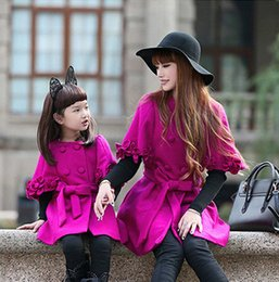 Wholesale Womens Shawl Coat - Mother and dauther outwear girl stereo flowers applique shawl womens double breasted bows belt coat autumn winter family clothing T4571