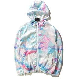 Wholesale Tiding Brand - Tide brand world tour ice cream sunscreen jacket and tie dye color gradient thin coat trendsetter Collar type: cap Color: figure color Size: