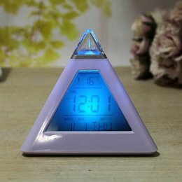 Wholesale Triangle Shaped Lights - LED Light Up Table Clock Clear Plastic Triangle Pyramid Shape Timing Alarm Clocks Glowing In The Dark Ornament Gift 10 8mj B R
