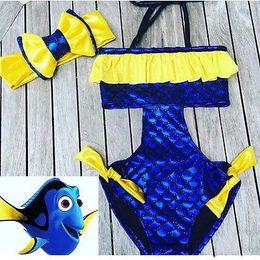Wholesale Toddler Girls Tankini Swimsuits - 2017 Summer Toddler Baby Girls Clothes Sleeveless Halter Blue Hollow Out Dory Bikini Swimsuit Swimwear Tankini Bathing Suit