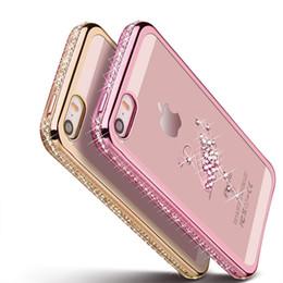 Coque iphone rhinestones or en Ligne-5 5S strass Etui en silicone pour iPhone 5S 5 SE 6 S 6s Plus paillettes couverture en diamant pour i Phone 5 Fundas Coque Or rose de luxe