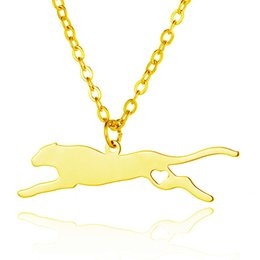 Wholesale Leopard Fashion Jewelry - Leopard Fashion Pendant Necklaces love heart Stainless Steel Animals Charm Link Chain Statement Charm Jewelry Women Men kid Gift Accessories
