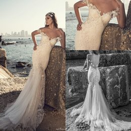 Wholesale Wedding Dresses Floral Straps - 2017 Julie vino Beach New Backless Mermaid Wedding Dresses Off Shoulders Lace Bodice Designer 3D-floral Bridal Gowns with Sweep Train
