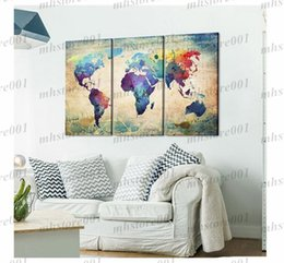 Wholesale Home Oil Sticker - Fashion Environmental Professional Canvas Decorative Painting Canvas Triple World Map Hanging On The Wall Sticker Home Decoration