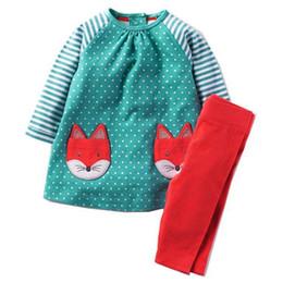 Set di abbigliamento per bambini online-Vestiti delle ragazze Vestiti dei bambini 2017 Marca Toddler Girl Clothing Sets Roupas Infantis Menino carattere bambini vestiti a strisce