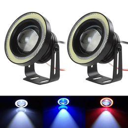Wholesale 12v Eagle Eye Led Lights - DRL Daytime Running Light Universal Angel Eyes Fog Lamp COB Led Light Bulb Lamp 6 Colors For Car Auto