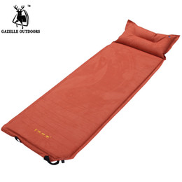 Wholesale Automatic Inflating Mattress - Wholesale- 2017 New 2.5cm Thick Warm Suede Camping Mat Tourism Folding Tent Bed Inflatable Mattress With Pillow Self-inflating Tourist Rug