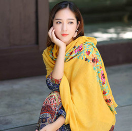 Wholesale Women Stylish Rings - Long scarves for women embroid Stylish Chinese Print Silk scarf and shawl wraps for spring and autumn beach cover up fashion design scarves