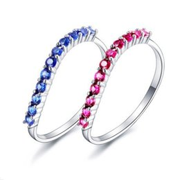 Wholesale Slimming Plant - Blue Pink Romantic Forever Love Super Shiny Zircon White Gold Plated Ladies`Rings Sweet Lovery Slim Ring for Young Girls