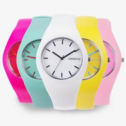 Genf süßigkeiten quarzuhr online-100 stücke Mode Neue Genf silikonuhr Genf Silikon quarzuhr mode unisex Candy farbe Uhren silikon armbanduhr 12 farben