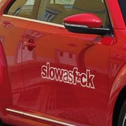 Wholesale Bonnet Mirror - 13 cm*4 cm Reflective Personality Slow As F*ck Car Stickers Bonnet Hood Body Window Car Styling Stickers Removable