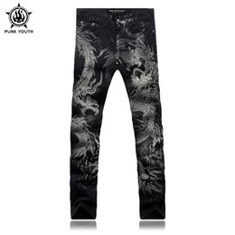Wholesale Colored Drawing Jeans - Wholesale- Punk Youth Men Fashion Dragon Print Jeans Male Colored Drawing Painted Slim Denim Pants Elastic Black Long Trousers Size28-38