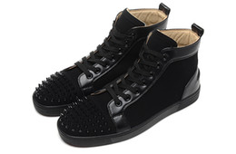 Wholesale Wholesale Black Velvet Fabric - Luxury Brand Red Bottom Sneakers Black Suede with Spikes Casual Mens Womens Shoes Black Velvet Stitching Toe Nail Shoes