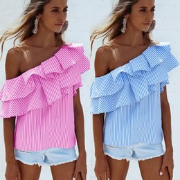 Wholesale Pink Ruffle Blouse Top - Women Sexy Off The Shoulder Tops with Ruffle Blue Pink Striped Casual Summer Blouse Shirts ZL3065