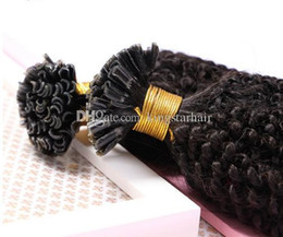 Wholesale Keratin Curly Hair - Kingstar Fashion Human Hair Extension Brazilian Afro Kinky Curly Hair 12inch-30inch Nail U Tip Keratin Hair Extensions 1g strand 100g lot