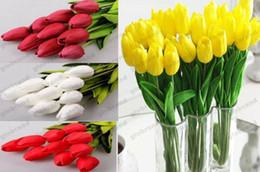 Wholesale Artificial White Tulips - 2017 NEW Tulip Artificial Flower PU Artificial bouquet Real touch flowers For Home Wedding decoratiom Supplies GLO