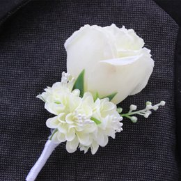 Wholesale Silver Color Brooches Blue - Wholesale-Best Man Wedding Boutonniere in Ivory Purple White Blue10 Color Aavailable Groom Pin Brooch Rose Corsage Suit Flower Accessories