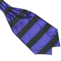 Wholesale Wholesale Neck Silk Scarves - Wholesale- Men's Fashion Stripes Long Silk Scarves Hand kerchief Cravat Ascot Neck Ties