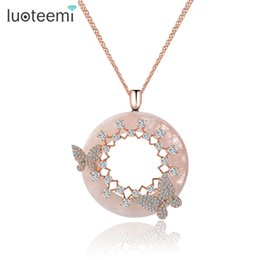 Wholesale double chain circle gold necklace - LUOTEEMI New Korea Style Elegant Big Round Pink Cream CZ Pendant with Mirco Double Butterfly Necklace Rose White Gold-Color