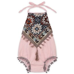Wholesale Wholesale Vintage Girls Clothing - Shabby Baby Clothes Vintage Tassle Baby Girls Bodysuit Outfit Halter Back Newborn Girls Sunsuit Baby Playsuit Outfit