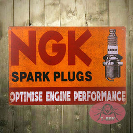Wholesale Ngk Plugs - T-Ray Vintage Garage decor NGK Spark Plugs vintage garage metal tin sign wall plaque 170314#
