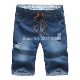 Wholesale Men Jeans Shorts Wholesale - Wholesale- New famous brand men summer short jeans male fashion Business style casual Slim fit pants jeans men trousers jeans for men