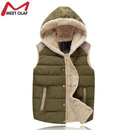 Wholesale Fleece Hooded Vest - Wholesale- Winter Vest Men Male Hooded Thick Warm Fleece Men'S Vests Fashion Mens Vests Sleeveless Jacket Chaleco Hombre