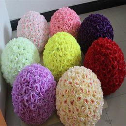 "Wholesale Festival Roses - 12"" 30CM Upscale Wedding Kissing Balls Artificial Encryption Rose Decorative Flower Ball for Wedding Festival Decorations"