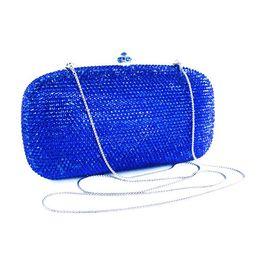 Wholesale Diamond Cell Phone Cases - Wholesale- Dazzling plain blue hard case clutch bag wholesale rhinstone clutch bag