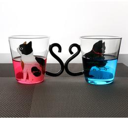 Tazze di caffè giapponesi online-Creativo gatto moda tazza stampaggio trasparente 250ML giapponese in vetro regalo squisito per bambini multi funzione tazza di caffè 9 4bl ff