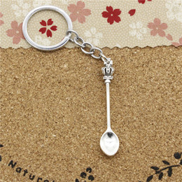 Wholesale Key Chain Crown - 15pcs Fashion Diameter 30mm Metal Key Ring Key Chain Jewelry Antique Silver Plated kitchen spoon crown 57*9mm Pendant