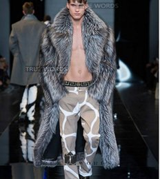Wholesale Fox Mink Coats - plus size S-5XL Fashion winter coat fur men's clothing faux long design trench outerwear silver fox fur overcoat mink